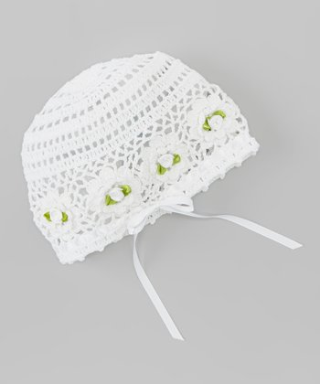 White Rosette Bow Crocheted Beanie