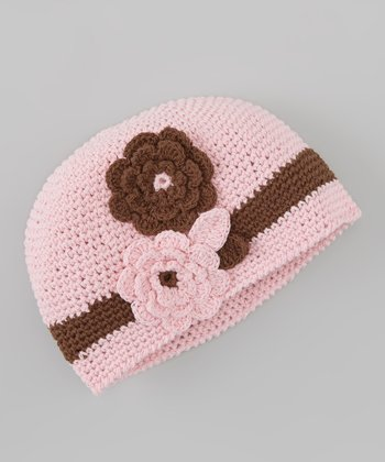 Pink & Brown Flower Crocheted Beanie