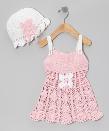 Pink & White Flower Crocheted Dress & Beanie
