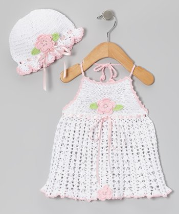 White & Pink Flower Crocheted Dress & Beanie