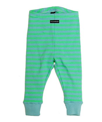 Bleach Green & Ice Blue Stripe Leggings - Infant & Toddler