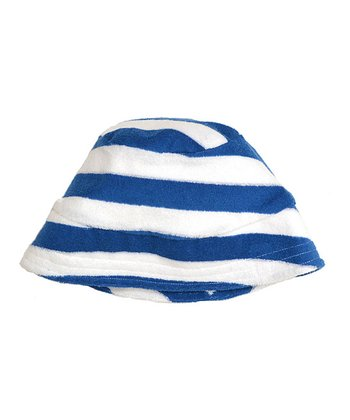 Blue Stripe Velour Bucket Hat