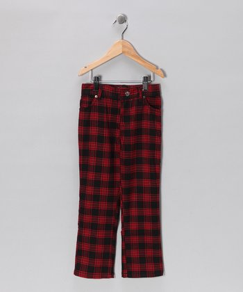 Red & Black Plaid Skinny Jeans - Infant, Toddler & Boys