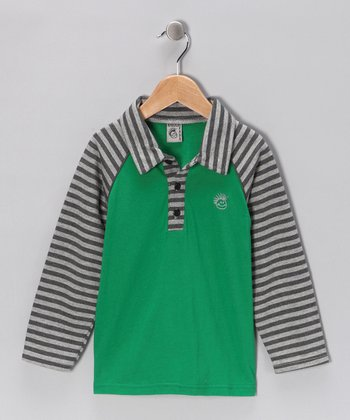 Green Stripe Raglan Polo - Infant, Toddler & Boys