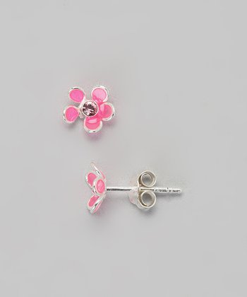 Pink Crystal Rose Earrings