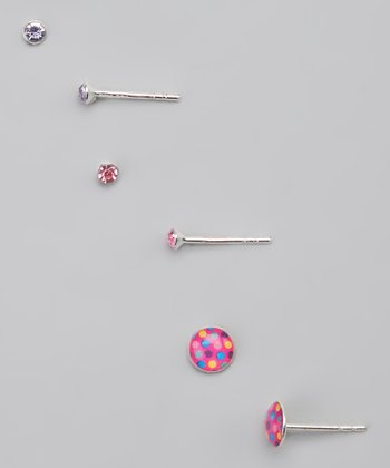 Pink & Purple Polka Dot Earrings Set