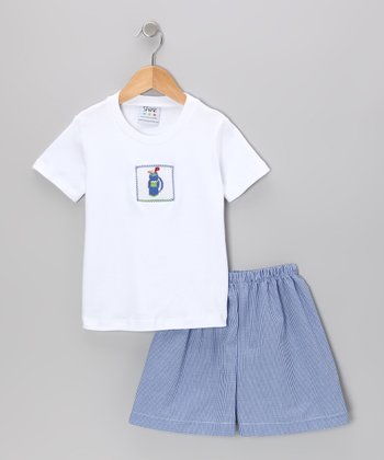 White Golf Smocked Tee & Blue Gingham Shorts - Infant