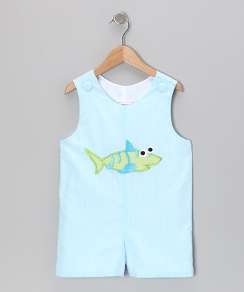 Blue Stripe Shark Shortalls - Infant & Toddler