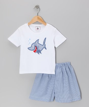 Blue Shark Tee & Shorts - Infant, Toddler & Boys