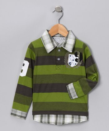 Chive Plaid & Stripe Layered Polo - Toddler & Boys