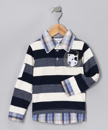 Navy Plaid & Stripe Layered Polo - Toddler & Boys