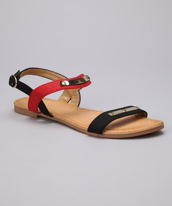 Black & Red Darlene Sandal