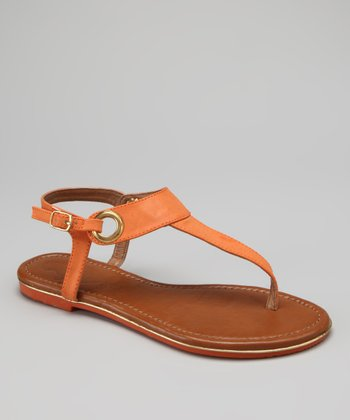Orange Nelly T-Strap Sandal