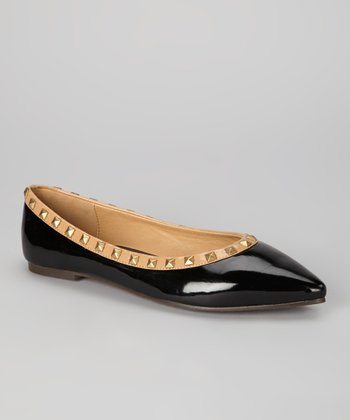 Black Studded Report Flat