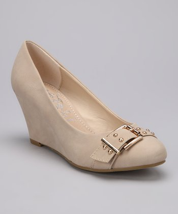 Beige Buckle Vica Wedge