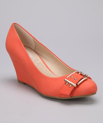 Orange Buckle Vica Wedge