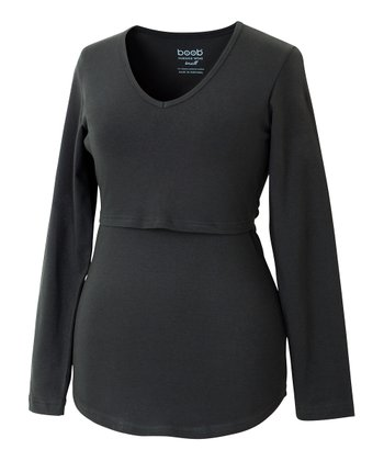 Black Nursing Long-Sleeve Top