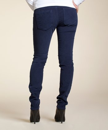 Ink Blue Stretch Over-Belly Maternity Corduroy Pants