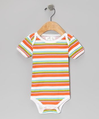 Bright Orange & Green Stripe Bodysuit