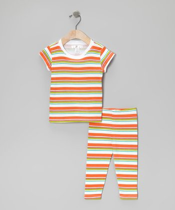 Bright Orange & Green Stripe Tunic & Leggings