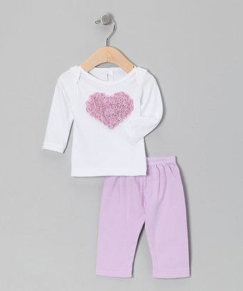 White & Violet Organza Heart Long-Sleeve Tee & Pants