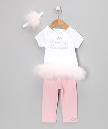 White & Pink 'Birthday Princess' Leggings Set - Infant