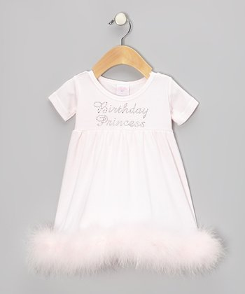 Pink 'Birthday Princess' Maribou Trim Dress - Infant