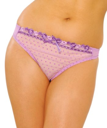 Orchid Purple Swiss Dot Princess Thong - Women