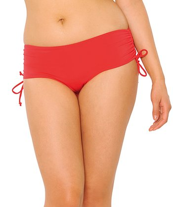 Red Paradise Cinch-Side Boyshort Bikini Bottoms - Women & Plus