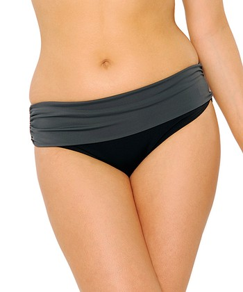 Black Moonlight Fold-Over Bikini Bottoms - Women & Plus