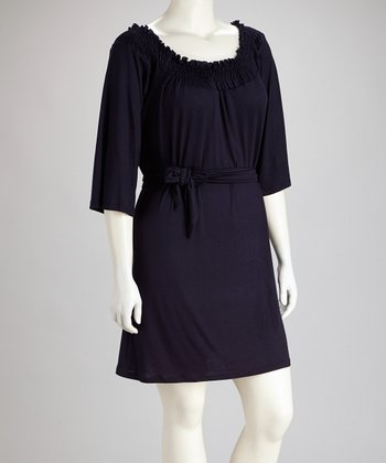 Eggplant Three-Quarter Sleeve Dress - Plus