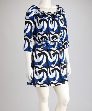 Blue Abstract Three-Quarter Sleeve Dress - Plus