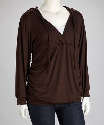 Brown Hooded Surplice Top - Plus