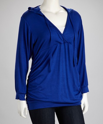 Royal Blue Hooded Surplice Top - Plus
