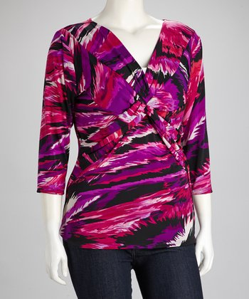 Fuchsia Stripe Knot Surplice Top - Plus