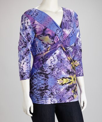 Purple Reptilian Knot Surplice Top - Plus