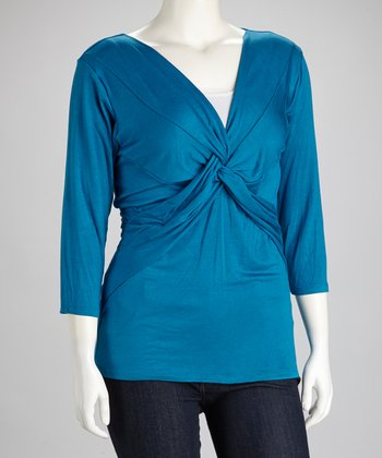 Teal Knot Surplice Top - Plus