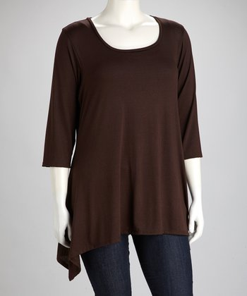 Brown Scoop Neck Sidetail Top - Plus