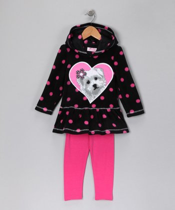 Black Scottie Fleece Hoodie & Pink Leggings - Girls