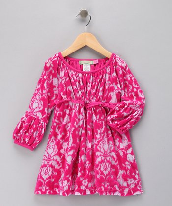 Raspberry Jacey Burnout Peasant Dress - Toddler