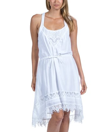 White Crocheted Racerback Dress