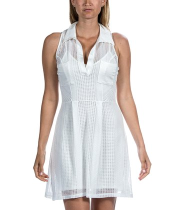 White Crocheted Collar Dress