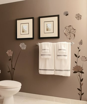 Black & Brown Flowers Wall Decal Set