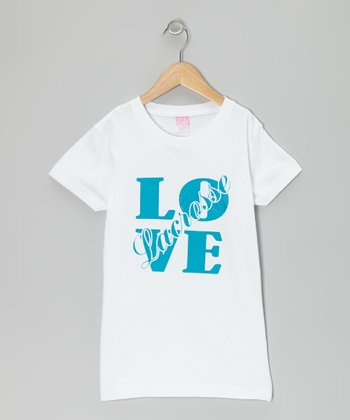 White 'Love Lacrosse' Tee - Girls