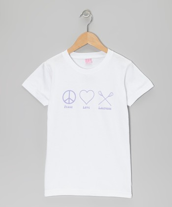 White 'Peace Love Lacrosse' Tee - Girls