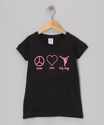 Peanuts & Monkeys Black 'Peace Love Hip Hop' Tee - Infant, Toddler, Girls & Women