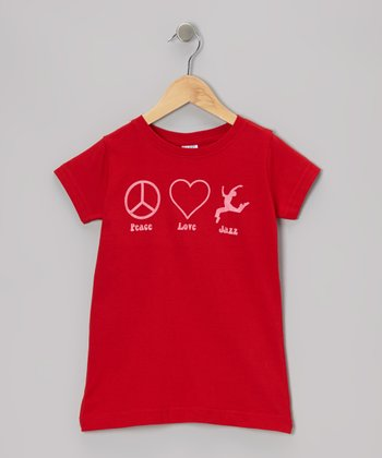 Red 'Peace Love Jazz' Tee - Toddler & Girls
