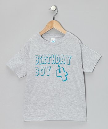 Gray 'Birthday Boy 4' Tee - Boys