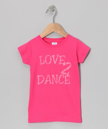Peanuts & Monkeys Hot Pink 'Love 2 Dance' Tee - Infant, Toddler & Girls