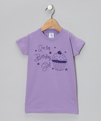 Lavender 'Birthday Girl' Cupcake Tee - Infant, Toddler & Girls